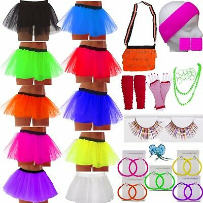 Neon Tutu Skirt Accessories 80's Fancy Dress Party