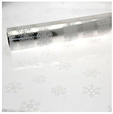 5M x 80cm Length Christmas Clear Cellophane Gift Wrap With White Snowflakes