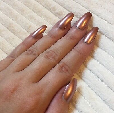 Hand Painted False Nails COFFIN Full Cover. Rose Gold Bronze Ballerina Christmas
