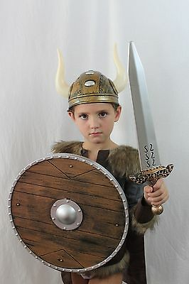 Viking Warrior Costume Halloween Thor Cape Shield Kid Medieval Lord MSRP $95 NEW