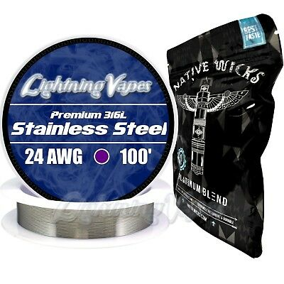 Stainless Steel 316L 24 Gauge AWG 100' + Native Wicks Platinum - Bundle