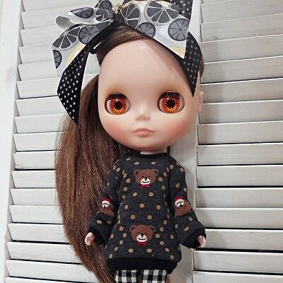 blythe clothes,Top t-shirts soft bear charcoal