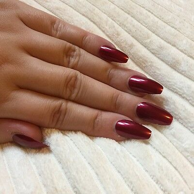 Hand Painted False Nails COFFIN Full Cover. Metallic Red. Party UK