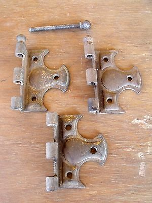 3 Rusty Antique Vintage Decorative Hinge Halves & 1 Ball Shaped Pin Re-Purpose
