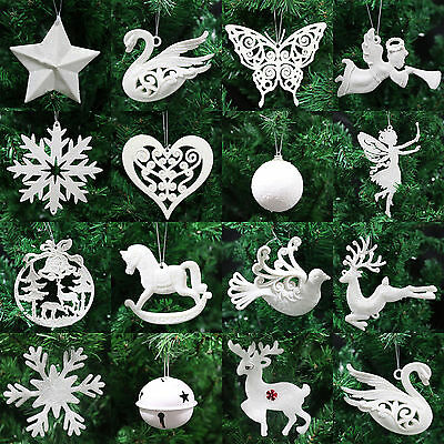 Ivory White Christmas Tree Pendant Baubles Fairy Snowflake Santa Decorations