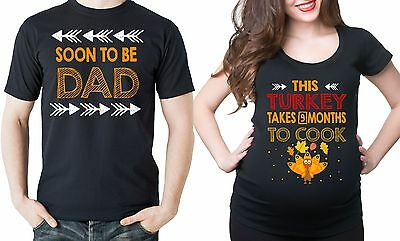 Pregnancy Funny Couple T-shirts Thanksgiving Maternity Baby Announcements Tees