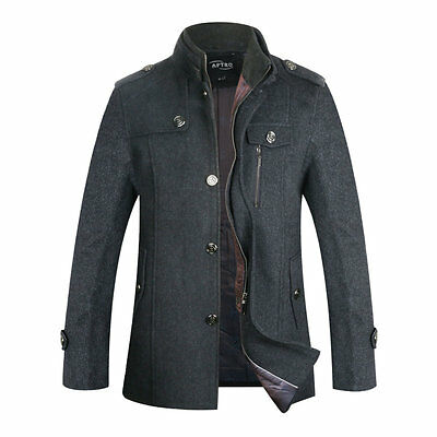 Mens Winter Wool Peacoat Jacket Single Breasted Trench Coats Reefer Jacket