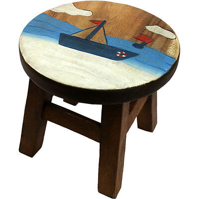 boat design children's stool hand crafted 24cm tall x 25.5cm wide ST_28215