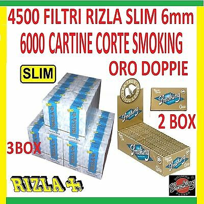 4500 FILTRI RIZLA SLIM 6mm - 6000 CARTINE SMOKING ORO CORTE GOLD