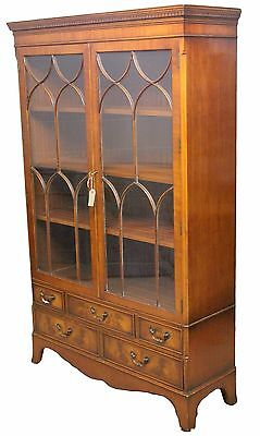 Reproduction Antique Mahogany Glazed Display Cabinet with Five Drawers Below