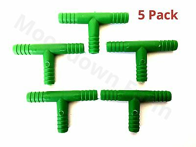 5 x 6mm T PIECE Tube Pipe Fitting Ribbed Connector Clip Aquarium Pond t Piece