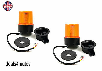 2 Pcs Led Spinning Flash Orange Warning Signal Beacon Lights Lamps Truck Lorry