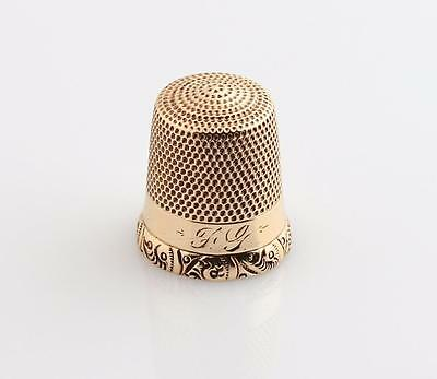 SIMONS BROTHERS 10K YG Sewing Thimble Solid Gold Sz 8 Monogrammed Filigree 2.7g