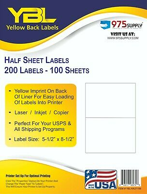 "YBL 200 Half Sheet Self Adhesive Shipping Labels 8.5 X 5.5""  Yellow BackIing"