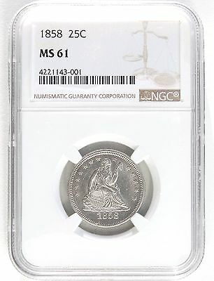 1858 Seated 25c NGC MS61  -  Nice Uncirculated coin - PQ