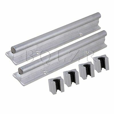 6Pieces Silver 200mm CNC Linear Motion Bearing Support Rail & Open Bearing Slide