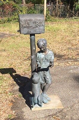 Vintage Bronze Figural Mail Box With Boy And His Dog -Garden Sculpture