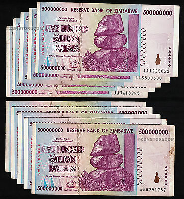 10 X 500 Million Zimbabwe Dollars Bank Notes Aa 2008 10pcs Currency Bundle