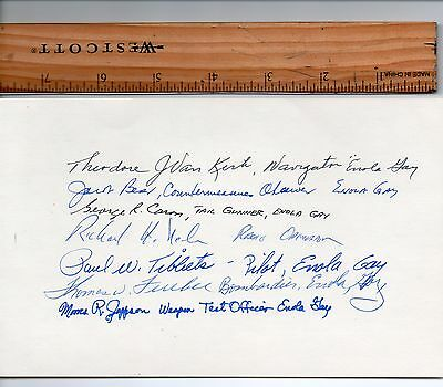 ENOLA GAY ~ HIROSHIMA ~ SIGNED BY 7 out of 12 CREWMEMBERS ~VERY RARE!  10+ BOLD!