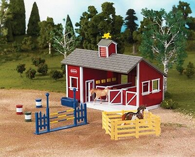 Breyer Stablemates Red Stable Set with 2 Horses Toy Play 59197