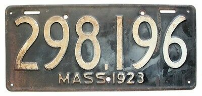 Massachusetts 1923 License Plate, Old New England, Antique, Garage Wall Sign