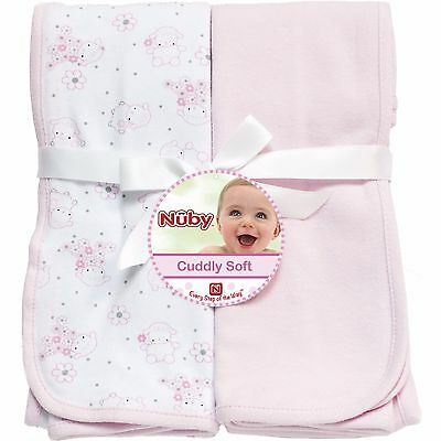 "Nuby Swaddle Blanket 2Pk Set 100% Cotton Knit 30""x33"""
