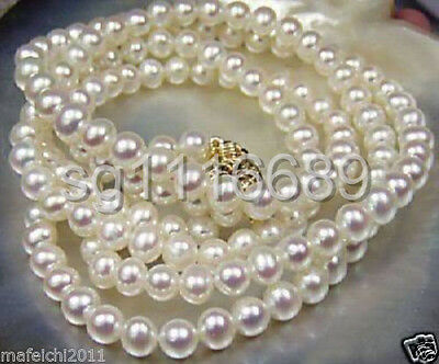"""Beautiful!7-8mm White Akoya freshwater Cultured Pearl Necklace 25"""""""