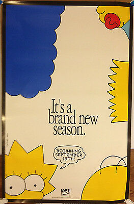 The Simpsons promotional Poster /'new season' 1991 Fox TV 25 X 39 excellent