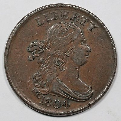 1804 C-10 Crosslet 4 w/ Stems Draped Bust Half Cent Coin 1/2c