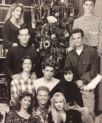 Beverly Hills, 90210 promo Christmas cast Photo /1991 Fox TV 8 X 10 B&W glossy