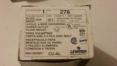 Leviton 278 3-Pole, 4-Wire Grounding Power Outlet, Flush Mount, 78477074510