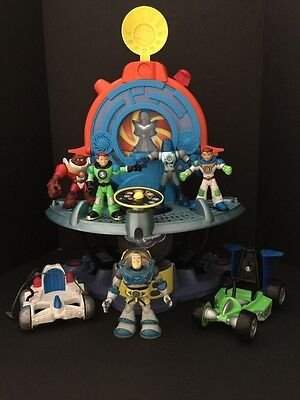 Lot Fisher Price Planet Heroes W/ Solar Quarters Cars And Figures