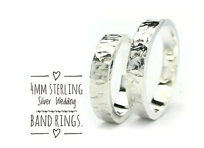SURANO DESIGN JEWELRY 4mm Men /& Women Sterling Silver Hand Hammered Flat Wedding Band Ring
