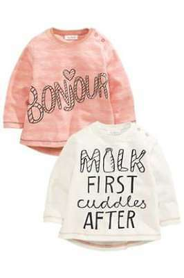 Next Girls Baby T-Shirt Pack Of Two Milk First Cuddles After 3-6 Months BNWT