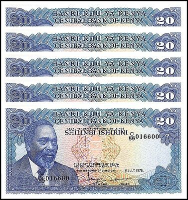 Kenya 20 Shillings X 5 Pieces (PCS), 1978, P-17, UNC