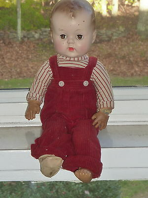 """Adorable 15"""" 1950's Vtg BOY  Baby Doll Rubber Hard Plastic Head Cries Redressed"""