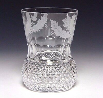 1x Edinburgh Crystal Thistle Old Fashioned Whisky Tumbler 4 in 8oz Signed