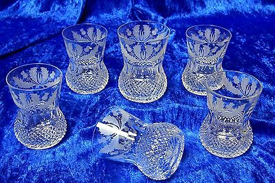 6x Edinburgh Crystal Thistle Old Fashioned Whisky Tumbler 4 in 8oz Signed