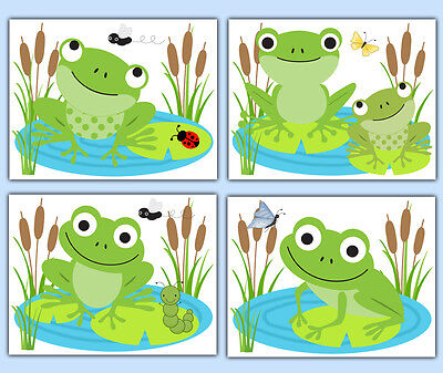 Frog Nursery Wall Art Prints Baby Boy Woodland Forest Animal Bathroom Pond Decor