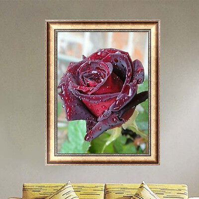 DIY 5D Diamond Painting Red Rose Embroidery Mosaic Cross Stitch Home Decor