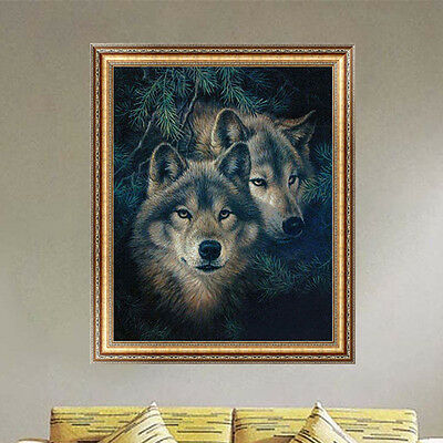 5D DIY Diamond Wolves Painting Embroidery Cross Stitch Kit Home Wall Decor Craft