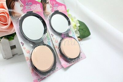 Makeup Face Pressed Powder Compact Matte Finish Natural Puff Mirror