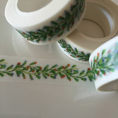 Washi Tape Floral Vine Red 15Mm Wide X 10Mtr Roll Scrap Plan Craft Wrap