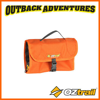OZtrail TOILETRY ROLL ORANGE CAMP TRAVEL STORAGE HANGING BAG