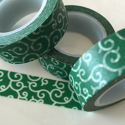 Washi Tape Dark Green Curly Whirly 15Mm Wide X 10Mtr Roll Scrap Plan Craft Wrap