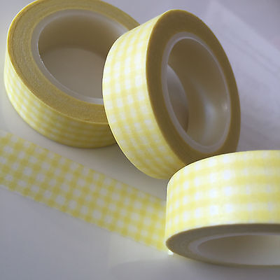Washi Tape Pale Yellow Gingham Check 15Mm  X 10Mtr Roll Plan Craft Wrap Scrap