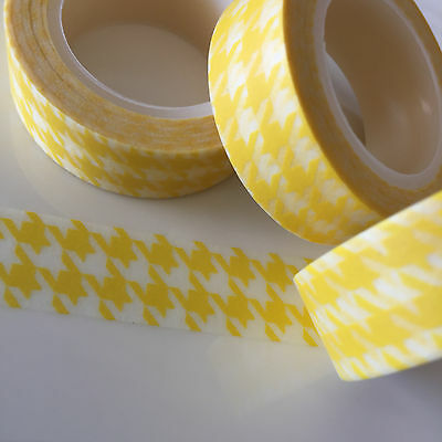 Washi Tape Bright Yellow Houndstooth 15Mm Wide X 10Mtr Roll Plan Craft Wrap