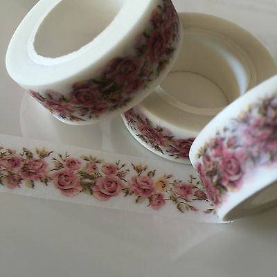 Washi Tape Pale Pink Rosey Vine 15Mm Wide X 10Mtr Roll Scrap Plan Craft Wrap