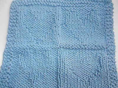 Knitted Blue Cotton Yarn Dishcloth