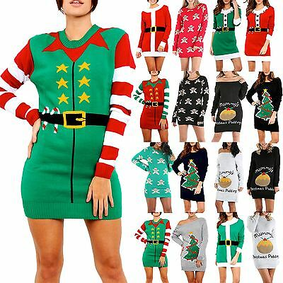 Womens Ladies Kintted Xmas Christmas Xmas Elf Costume Baggy Jumper Mini Dress